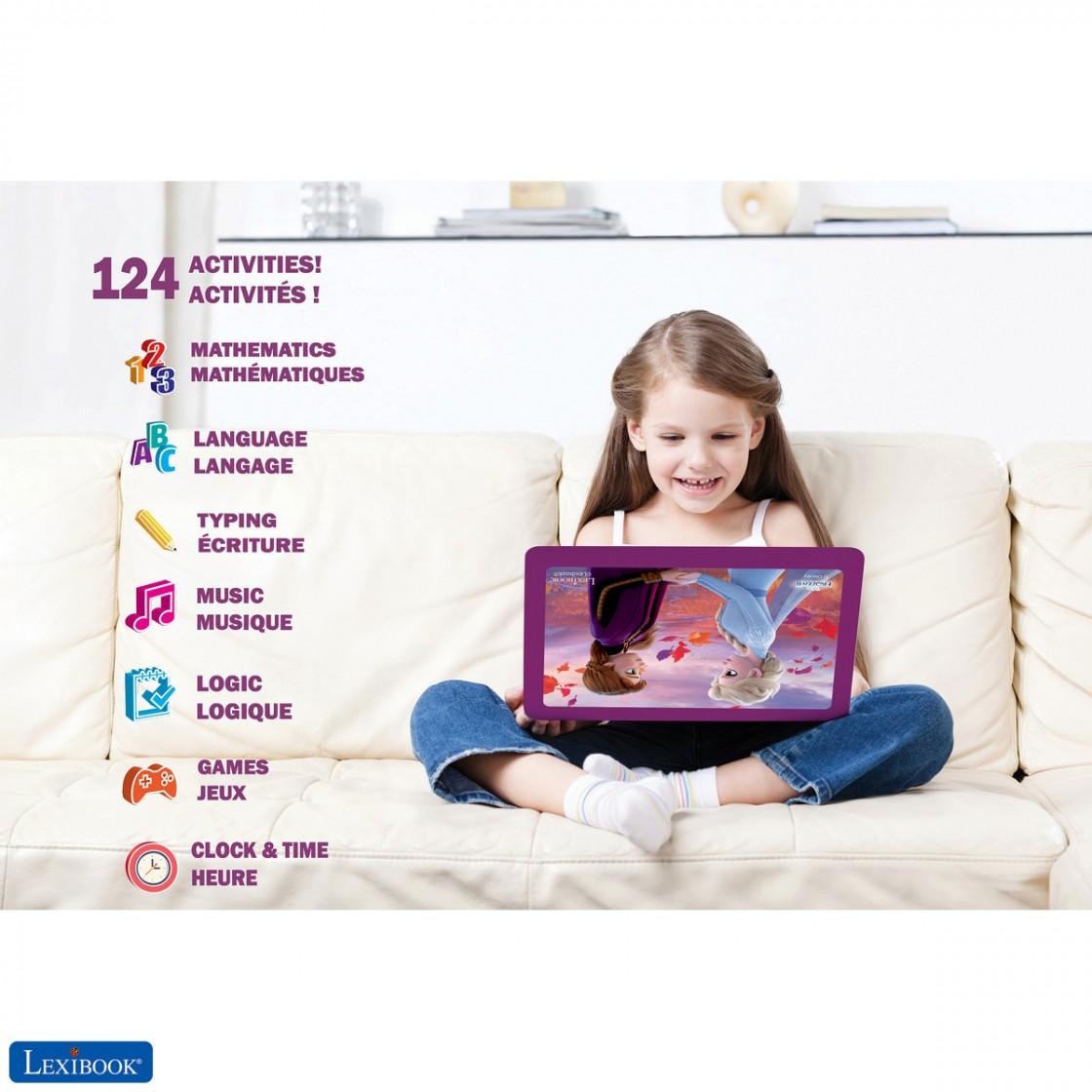 Juguete para ni/ñas con 124 Actividades para Aprender Ordenador port/átil Educativo y biling/üe espa/ñol//ingl/és Juegos y m/úsica con Elsa y Anna LEXIBOOK- Disney Frozen 2 Azul//P/úrpura