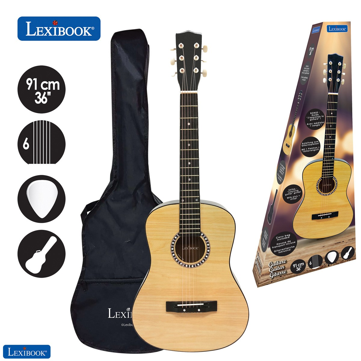 "Wooden Acoustic Guitar, 36"""
