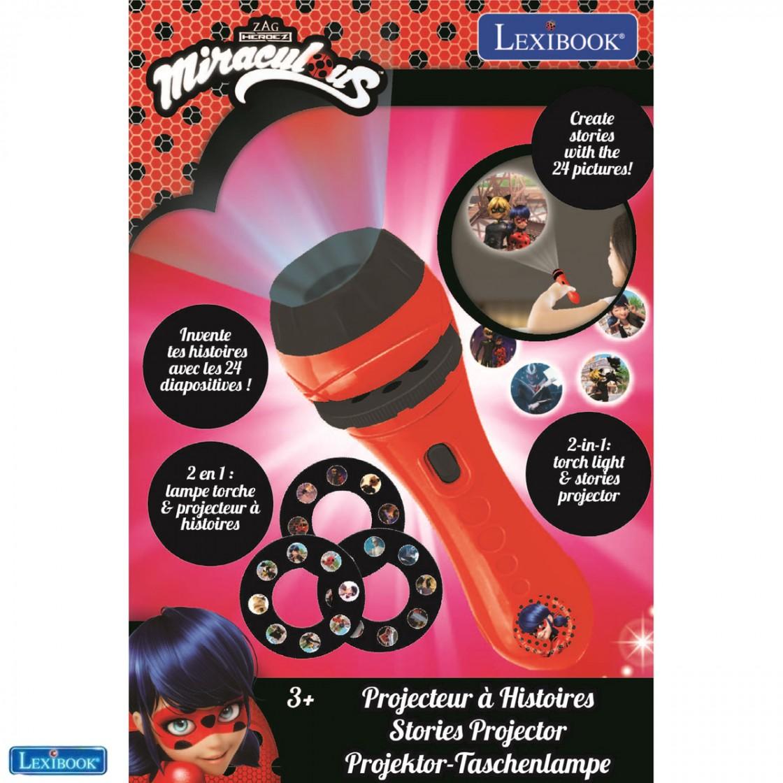 24 Images Miraculous LTC050MI Lampe Torche et projecteur avec 3 disques cr/éez Vos Propres Histoires Lexibook-LTC050MI