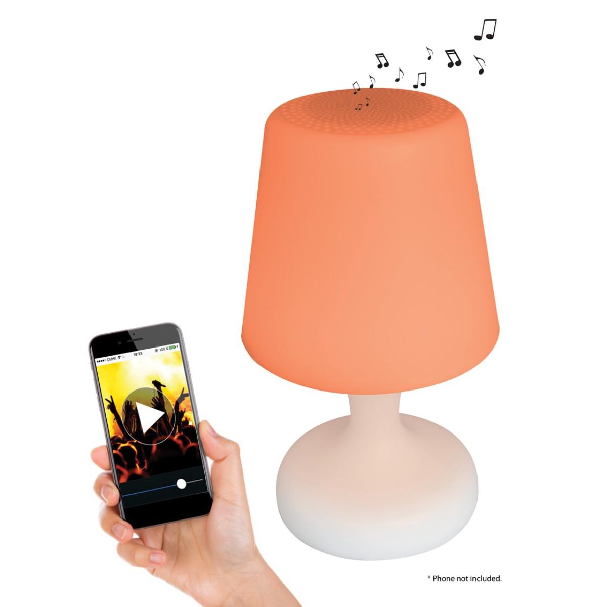 Lampe LED couleur & son Bluetooth® avec télécomande et batterie rechargeable