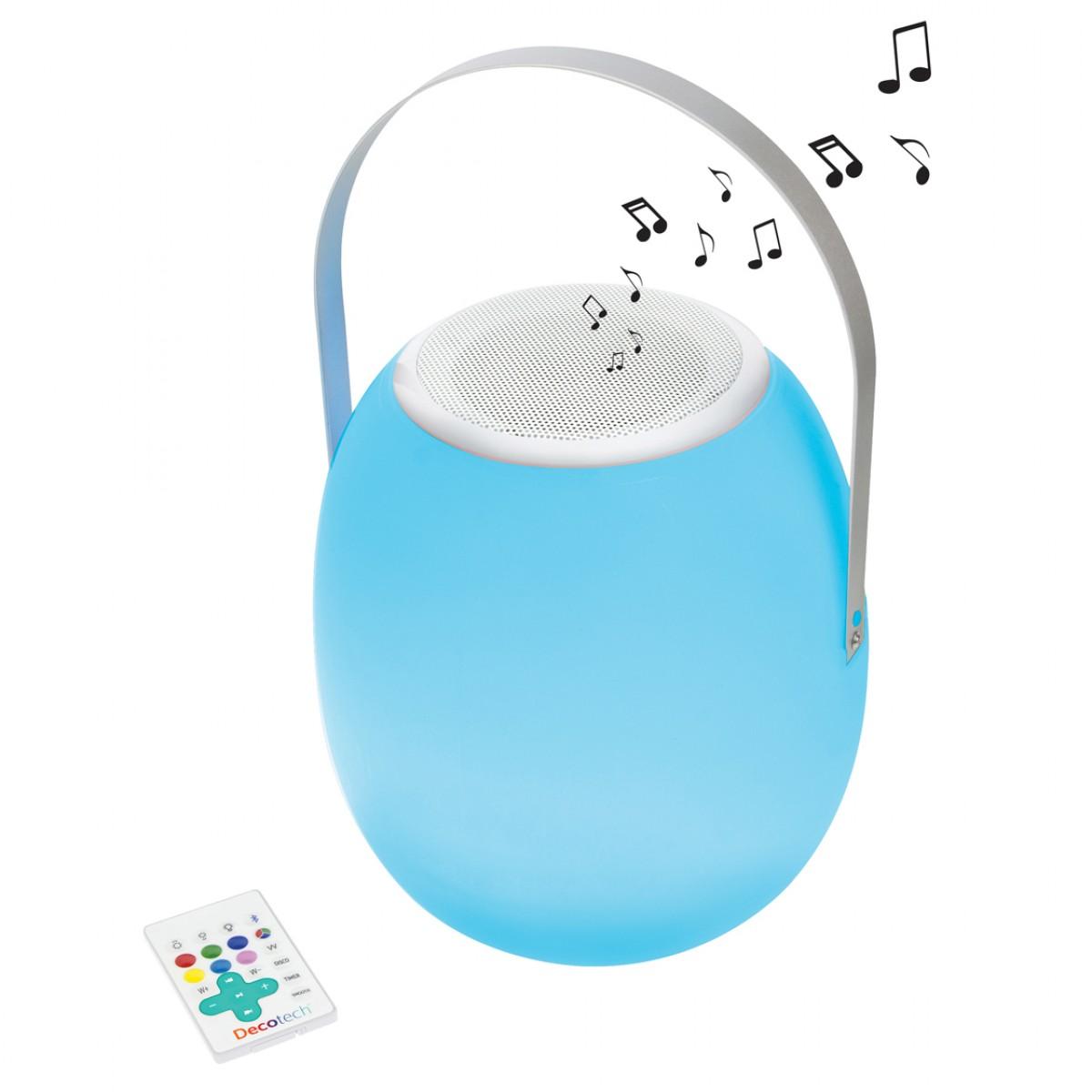 Enceinte Bluetooth® nomade et lumineuse, changement de couleurs, avec télécommande et batterie rechargeable, usage intérieur extérieur IP44