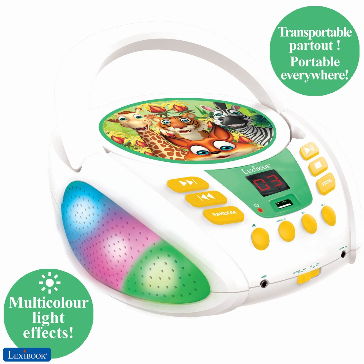 Animaux de la jungle - Lecteur CD Bluetooth pour enfants