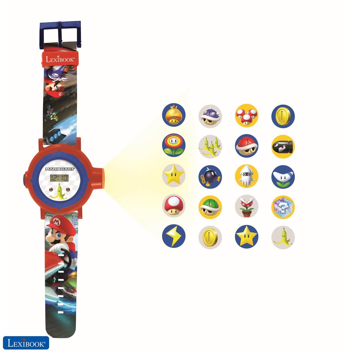 Nintendo Mario Kart Reloj correa ajustable pantalla digital con 20 proyecciones de Mario Kart - para Niños
