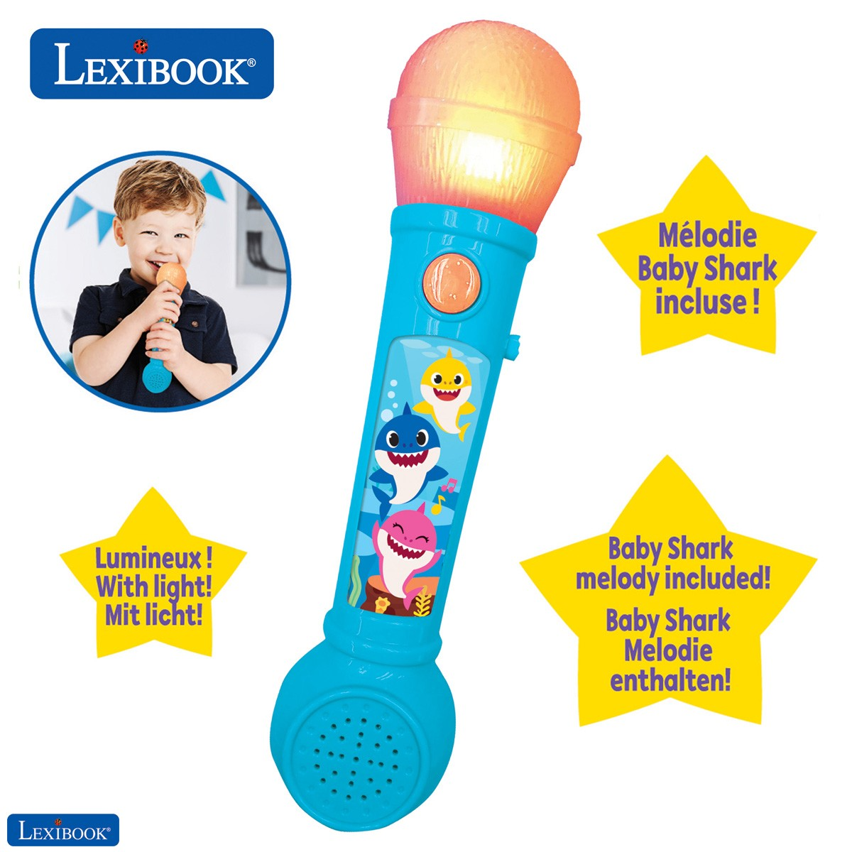 Baby Shark Microfóno Luminoso para niños