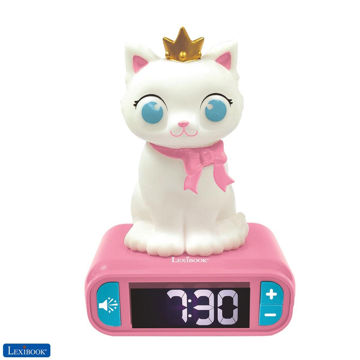 Despertador Gatito con pantalla LCD digital y luz de noche integrada