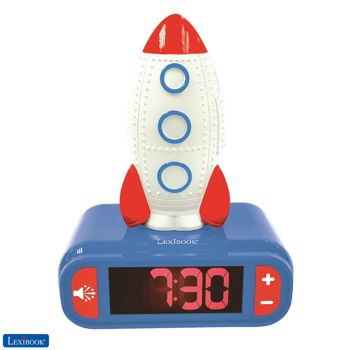 Despertador Cohete con pantalla LCD digital y luz de noche integrada