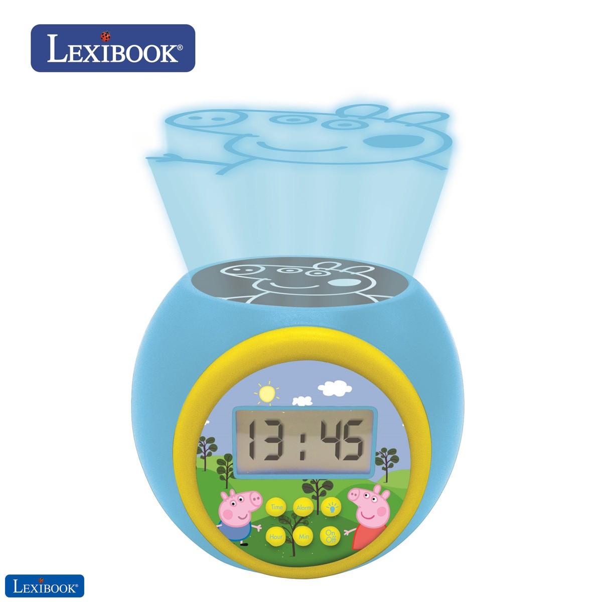 Reloj despertador con proyector Peppa Pig con función de repetición y alarma