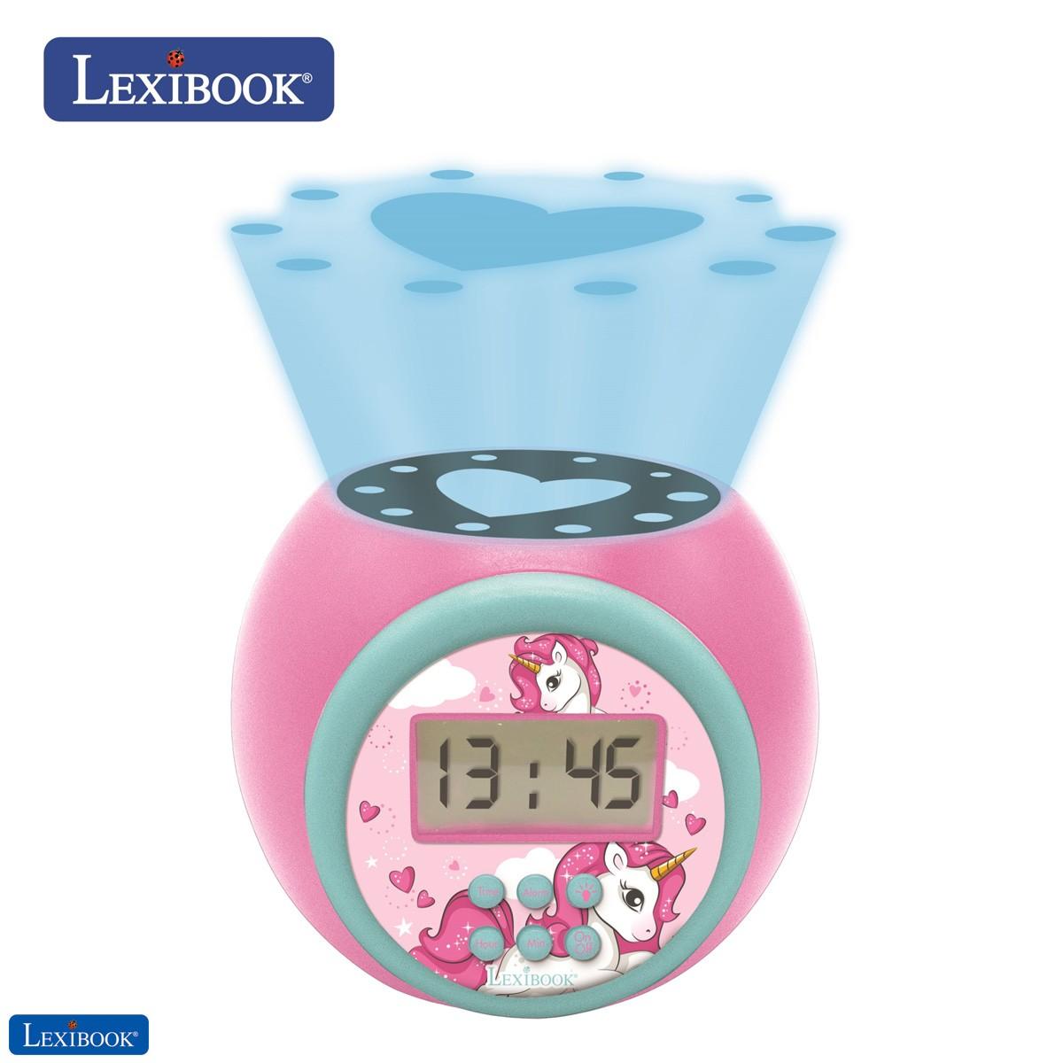 Reloj despertador con proyector unicornio con función de repetición y alarma