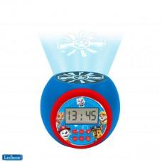 Reloj despertador con proyector Paw Patrol Marshall,Rubble,Chase,Stella y Everest con función de repetición y alarma, luz nocturna con temporizador