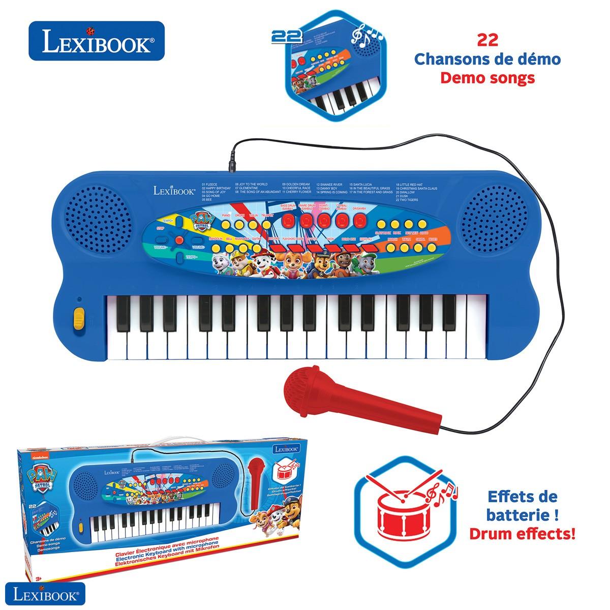 Paw Patrol Tastiera elettronica, pianoforte a 32 tasti, microfono per canto